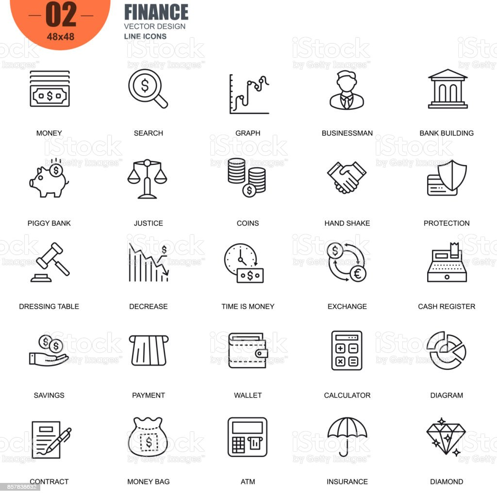 Simple set of finance related vector line icons vector art illustration
