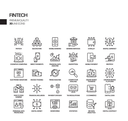 Simple Set of Fintech Related Vector Line Icons. Outline Symbol Collection