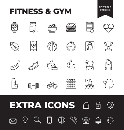 Simple Set of Fitness And GYM Vector Line Icons