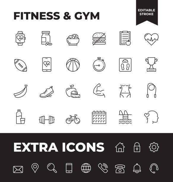 bildbanksillustrationer, clip art samt tecknat material och ikoner med enkel uppsättning fitness och gym vector line ikoner - calendar workout