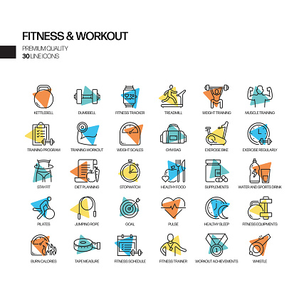 Simple Set of Fitness and Workout Related Spotlight Vector Line Icons. Outline Symbol Collection
