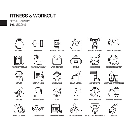 Simple Set of Fitness and Workout Related Vector Line Icons. Outline Symbol Collection