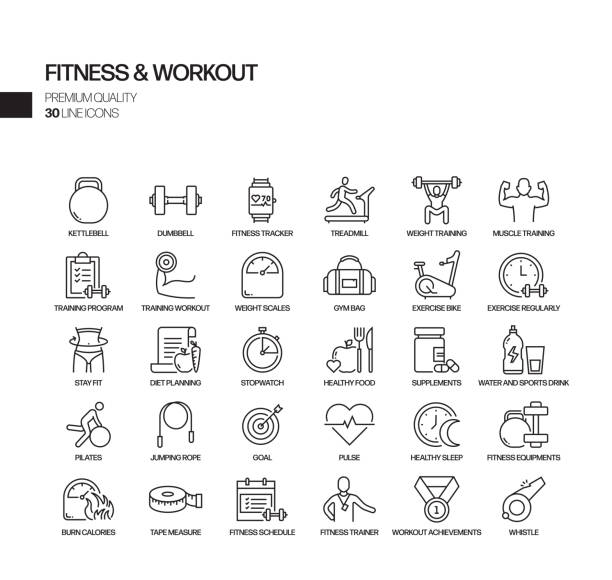 ilustraciones, imágenes clip art, dibujos animados e iconos de stock de conjunto simple de iconos de línea vectorial relacionados con el fitness y el entrenamiento. colección de símbolos de esquema - entrenador personal