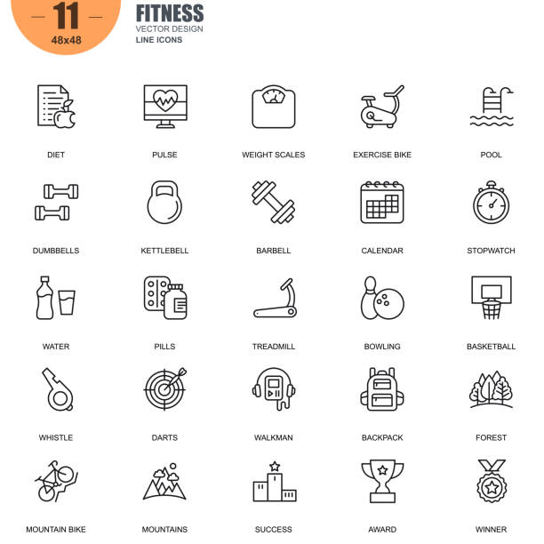 Simple set of fitness related vector line icons vector art illustration