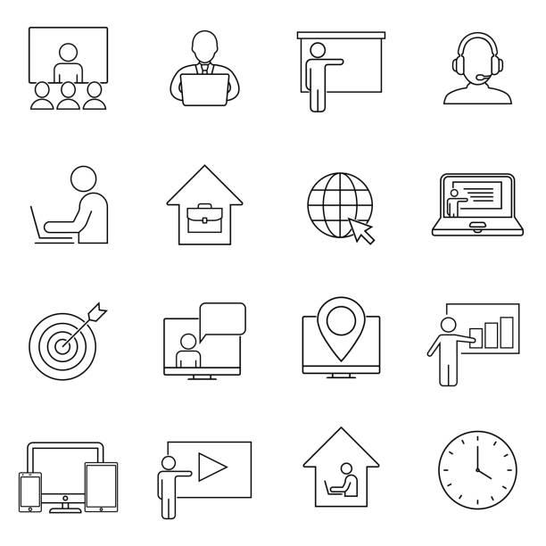 stockillustraties, clipart, cartoons en iconen met eenvoudige set van freelance werk gerelateerde vector line icons. bevat pictogrammen zoals werken op afstand, beroep, freelancer en meer. de illustratie van de overzichtsillustratie die op witte achtergrond wordt geïsoleerd. - call center