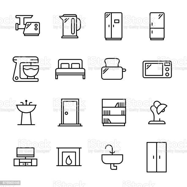 Simple set of furniture related outline icons vector id876965446?b=1&k=6&m=876965446&s=612x612&h=wpniboighmc7rkxi4cdij9lrao809hb5blsnhd8we6y=