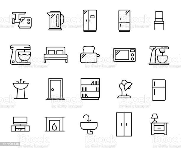 Simple set of furniture related outline icons vector id877294146?b=1&k=6&m=877294146&s=612x612&h=b d9eekab5k3 5ig4q5j6onab0lji7ujusgqrnbxpek=