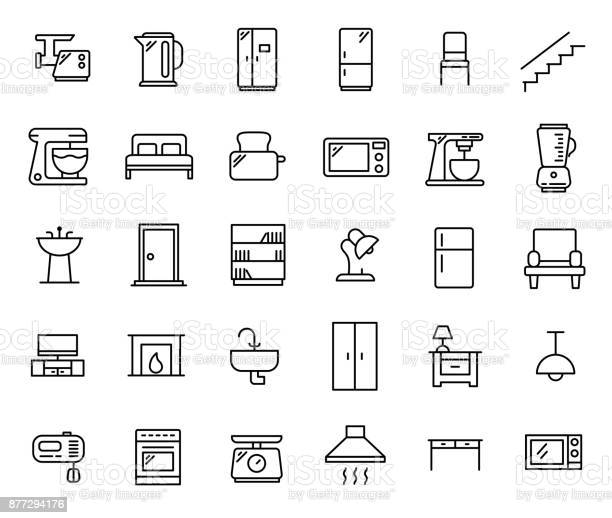 Simple set of furniture related outline icons vector id877294176?b=1&k=6&m=877294176&s=612x612&h=t4rxz6jobyjpmb3jqtsajnhpdy dilbdjetfspuqbsw=
