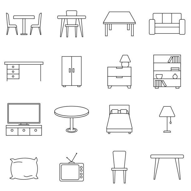 stockillustraties, clipart, cartoons en iconen met eenvoudige set van meubels gerelateerde vector lijn pictogrammen. dergelijke pictogrammen als sofa, tafel, vloer licht en meer bevat. eenvoudige vectorillustratie. - tafel