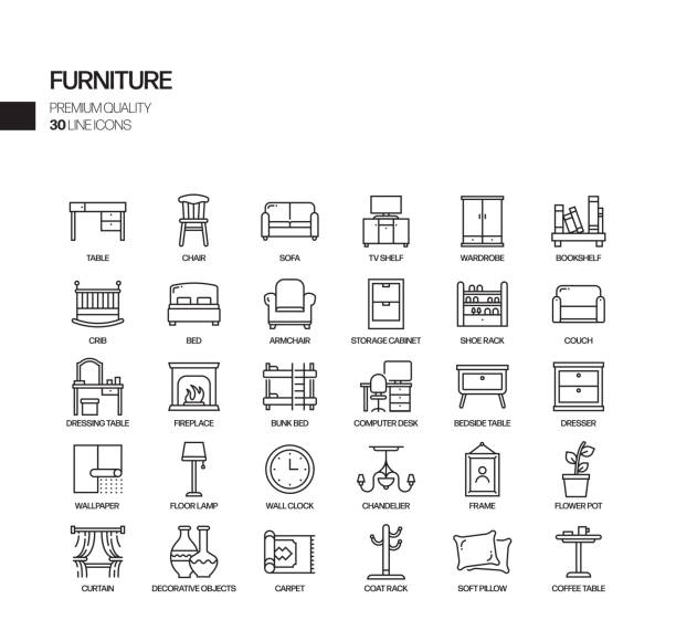 Simple Set of Furniture Related Vector Line Icons. Outline Symbol Collection. Simple Set of Furniture Related Vector Line Icons. Outline Symbol Collection. interior designer stock illustrations