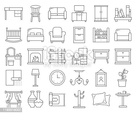 Simple Set of Furniture Related Vector Line Icons. Outline Symbol Collection. Editable Stroke