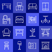 Simple Set of Furniture Related Vector Line Icons. Outline Symbol Collection.