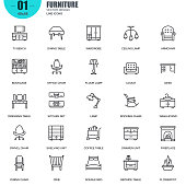 Simple set of furniture related vector line icons