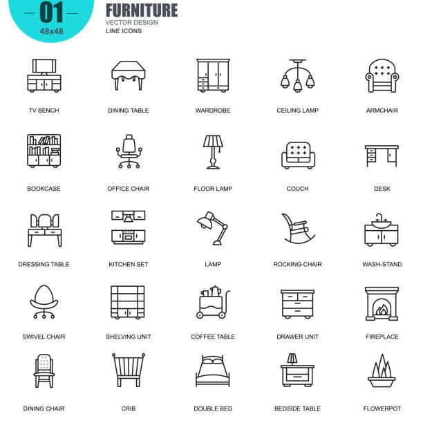 Ensemble de meubles simples associés vecteur ligne icônes - Illustration vectorielle