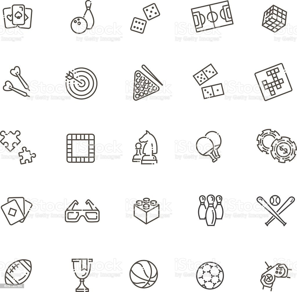 Simple set of games related vector line icons - Illustration vectorielle