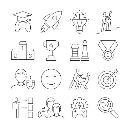 Simple Set of Gamification Related Vector Line Icons. Outline Symbol Collection. Editable Stroke