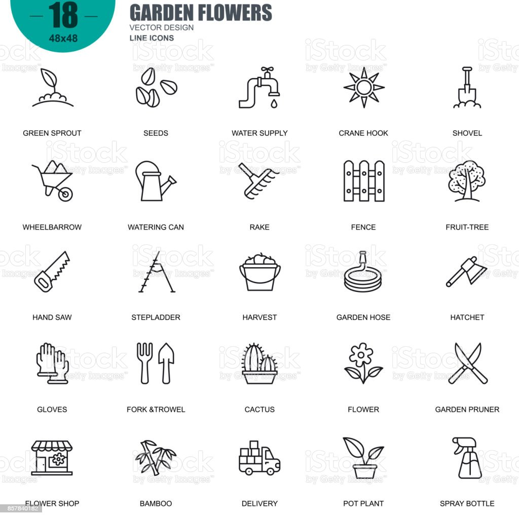 Simple set of garden flowers related vector line icons vector art illustration