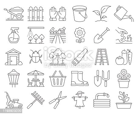Simple Set of Gardening Related Vector Line Icons. Outline Symbol Collection. Editable Stroke