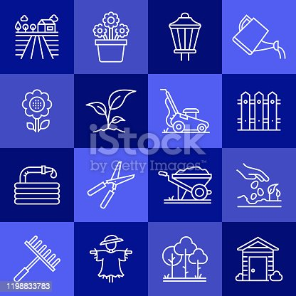 Simple Set of Gardening Related Vector Line Icons. Outline Symbol Collection