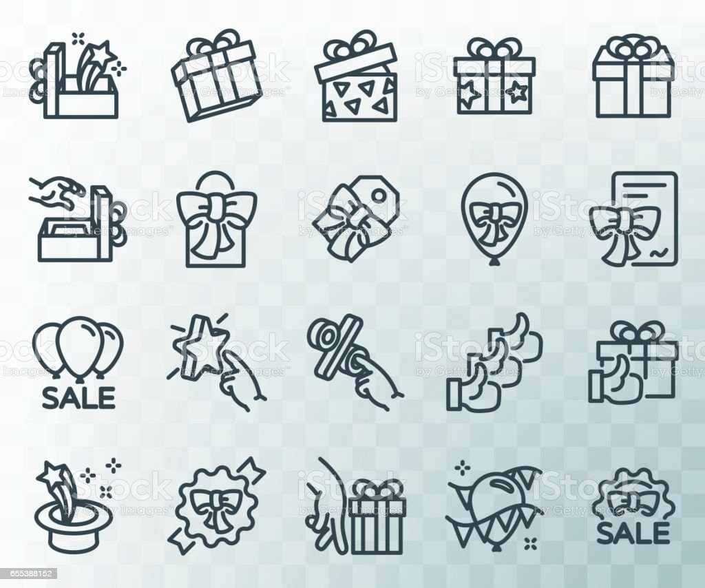 Simple set of gifts related. Line icons. Template for the holiday, sales and discounts. vector art illustration