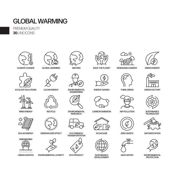 ilustrações, clipart, desenhos animados e ícones de jogo simples de ícones relacionados da linha do vetor do aquecimento global. coleção de símbolos de esboço - sustainability icons