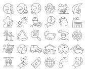 Simple Set of Global Warming Related Vector Line Icons. Outline Symbol Collection. Editable Stroke
