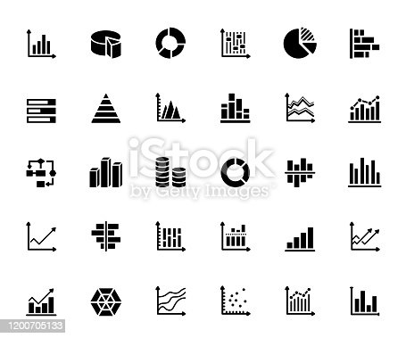 Simple Set of Graphs and Charts Related Vector Icons. Symbol Collection