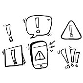 Simple Set of hand drawn Warnings Related Vector Line Icons. doodle style
