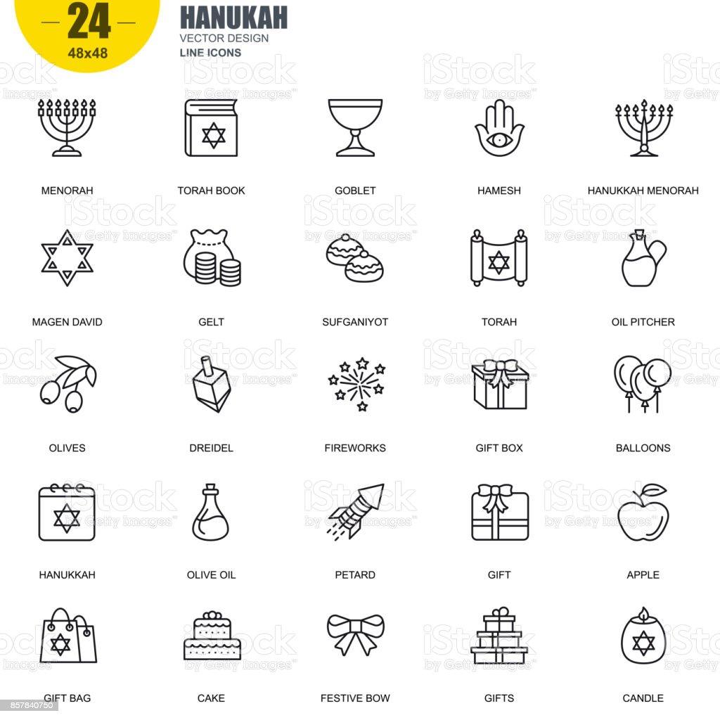 Simple jeu de Hanoucca associés vecteur ligne icônes - Illustration vectorielle