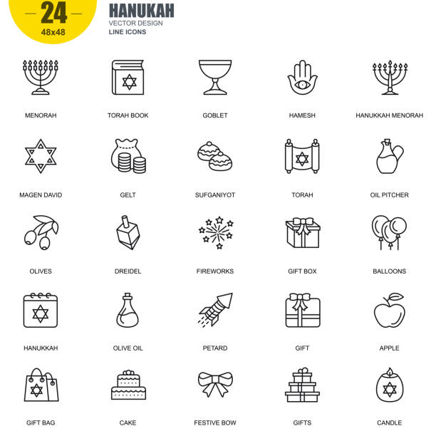 Simple set of hanukah related vector line icons Simple Set of Hanukah Related Vector Line Icons. Contains such Icons as Menorah, Torah Book, Candle, Dreidel, Hamesh, Sufganiyot and more. Editable Stroke. 48x48 Pixel Perfect. judaism stock illustrations
