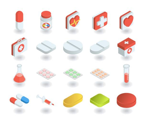 간단한 설정의 건강 및 의학 평면 등각 투영 3 차원 스타일 아이콘 알 약, 테스트 튜브, 응급 처치, 약 가슴 등으로 같은 아이콘을 포함 되어 있습니다. - vitamin d stock illustrations