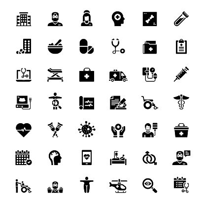 Simple Set of Healthcare and Medical Related Vector Icons. Symbol Collection