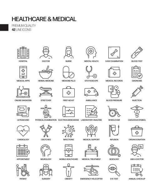 Simple Set of Healthcare and Medical Related Vector Line Icons. Outline Symbol Collection Simple Set of Healthcare and Medical Related Vector Line Icons. Outline Symbol Collection medical stock illustrations