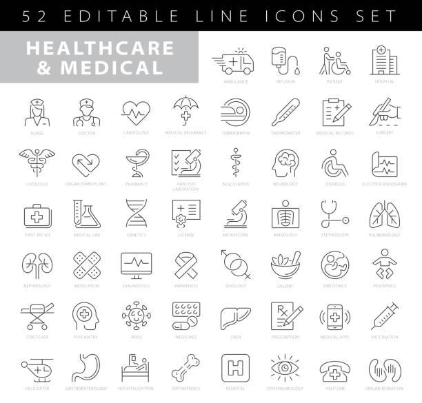 bildbanksillustrationer, clip art samt tecknat material och ikoner med enkel uppsättning av sjukvård och medicinsk relaterade vector line ikoner. samling för dispositionssymboler - allmänläkare