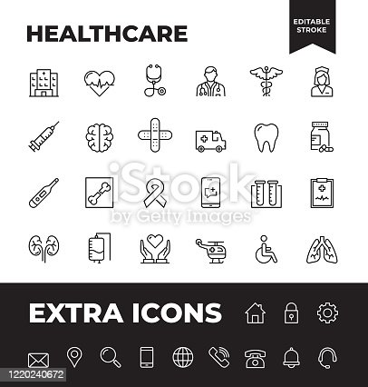Simple Set of Healthcare Vector Line Icons. Editable Stroke. 32x32 Pixel Perfect.