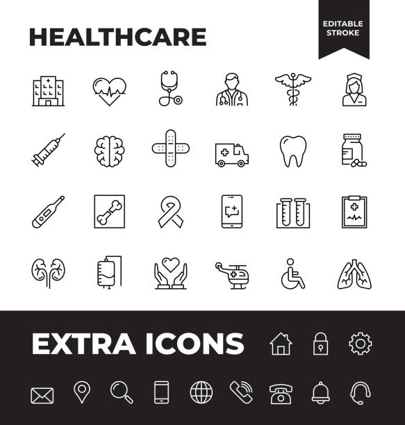 simple set of healthcare vector line icons - health stock illustrations