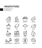 Simple Set of Healthy Food Related Vector Line Icons. Outline Symbol Collection.