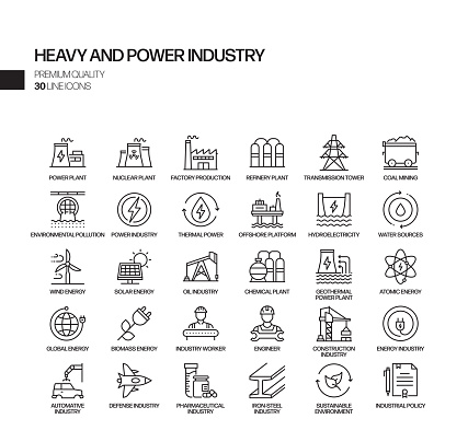Simple Set of Heavy and Power Industry Related Vector Line Icons. Outline Symbol Collection