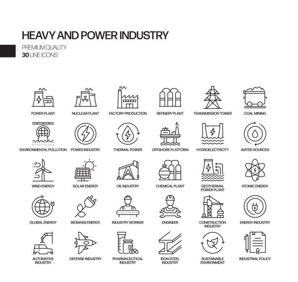 prosty zestaw ciężkich i energetycznych związanych z vector line ikony. kolekcja symboli konspektu - produkować stock illustrations