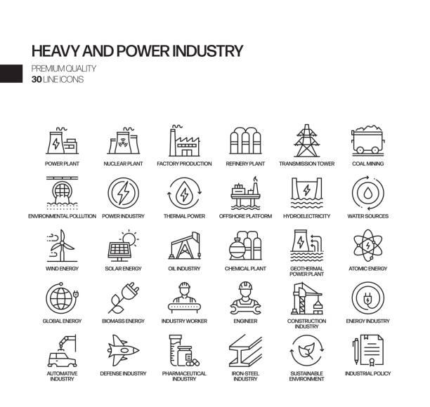 ilustrações de stock, clip art, desenhos animados e ícones de simple set of heavy and power industry related vector line icons. outline symbol collection - energia
