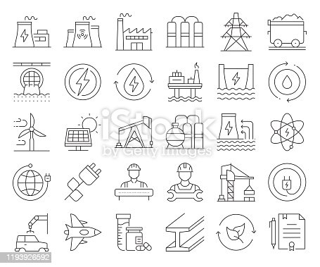 Simple Set of Heavy and Power Industry Related Vector Line Icons. Outline Symbol Collection. Editable Stroke
