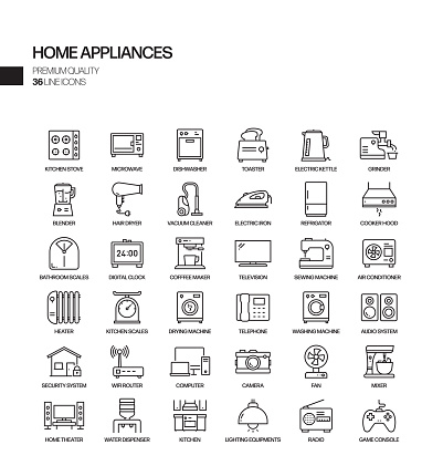 Simple Set of Home Appliances Related Vector Line Icons. Outline Symbol Collection.