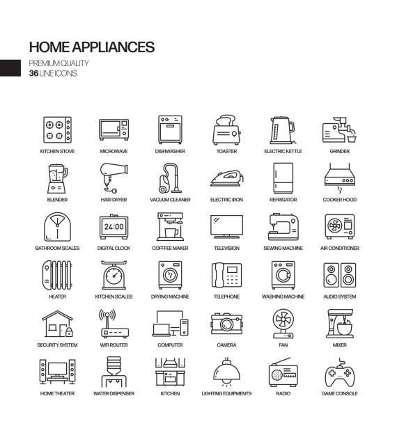 einfache satz von haushaltsgeräten verwandte vektor linie icons. gliederungssymbolsammlung. - haushaltsmaschine stock-grafiken, -clipart, -cartoons und -symbole
