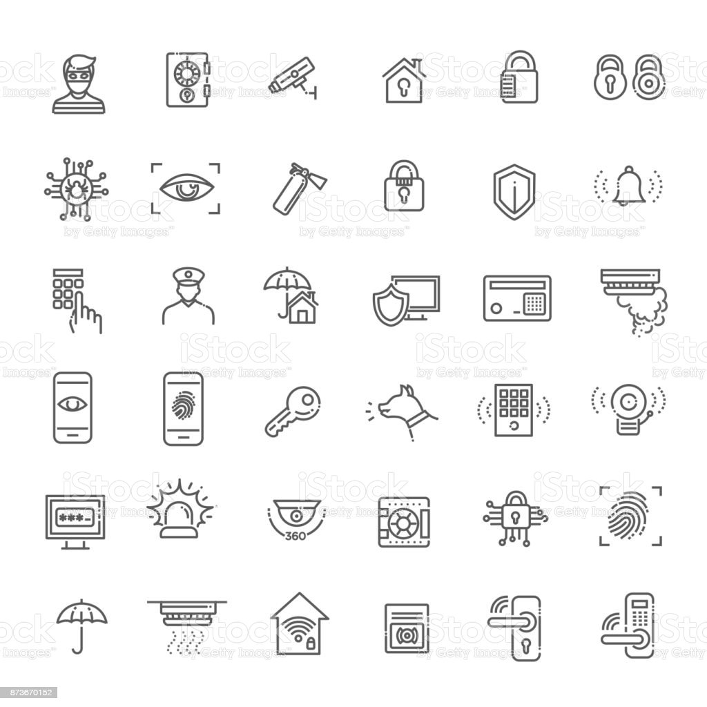 Simple Set of Home Security Related Vector Line Icons vector art illustration