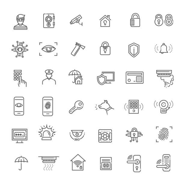 illustrazioni stock, clip art, cartoni animati e icone di tendenza di simple set of home security related vector line icons - security