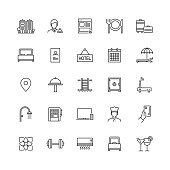 Simple Set of Hotel Facilities Related Vector Line Icons