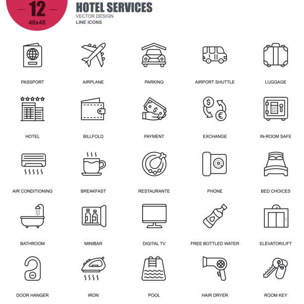 einfachen satz von hotelleistungen im zusammenhang mit vektor-linie-icons - frühstücksservice stock-grafiken, -clipart, -cartoons und -symbole