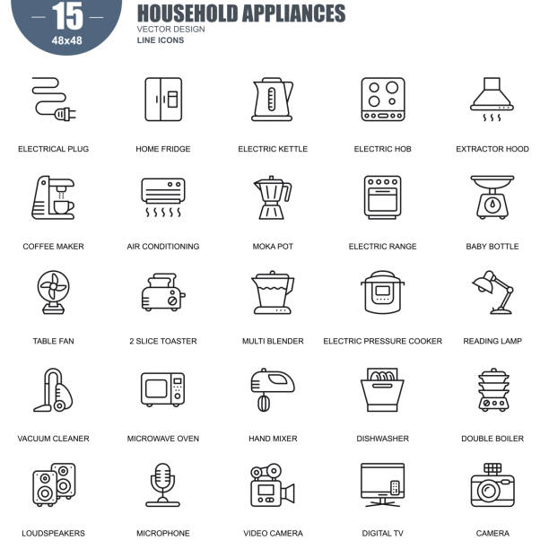 Simple set of household appliances vector line icons vector art illustration