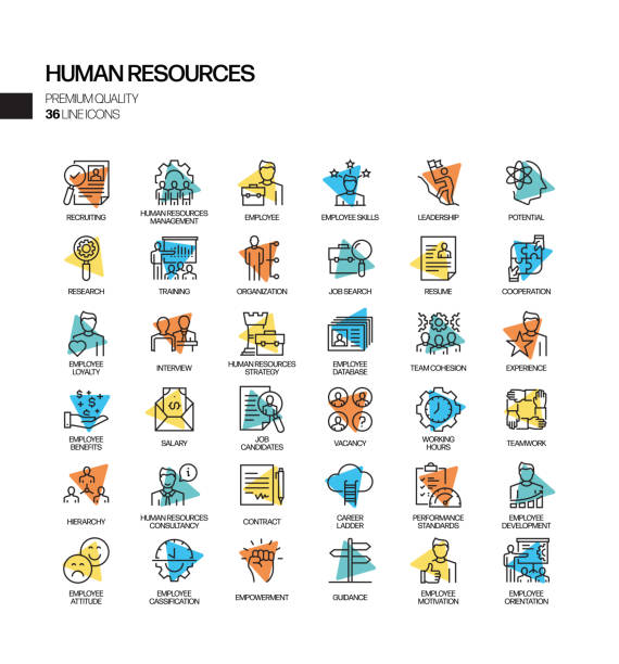 Simple Set of Human Resources Related Spotlight Vector Line Icons. Outline Symbol Collection. Simple Set of Human Resources Related Spotlight Vector Line Icons. Outline Symbol Collection. recruiter stock illustrations