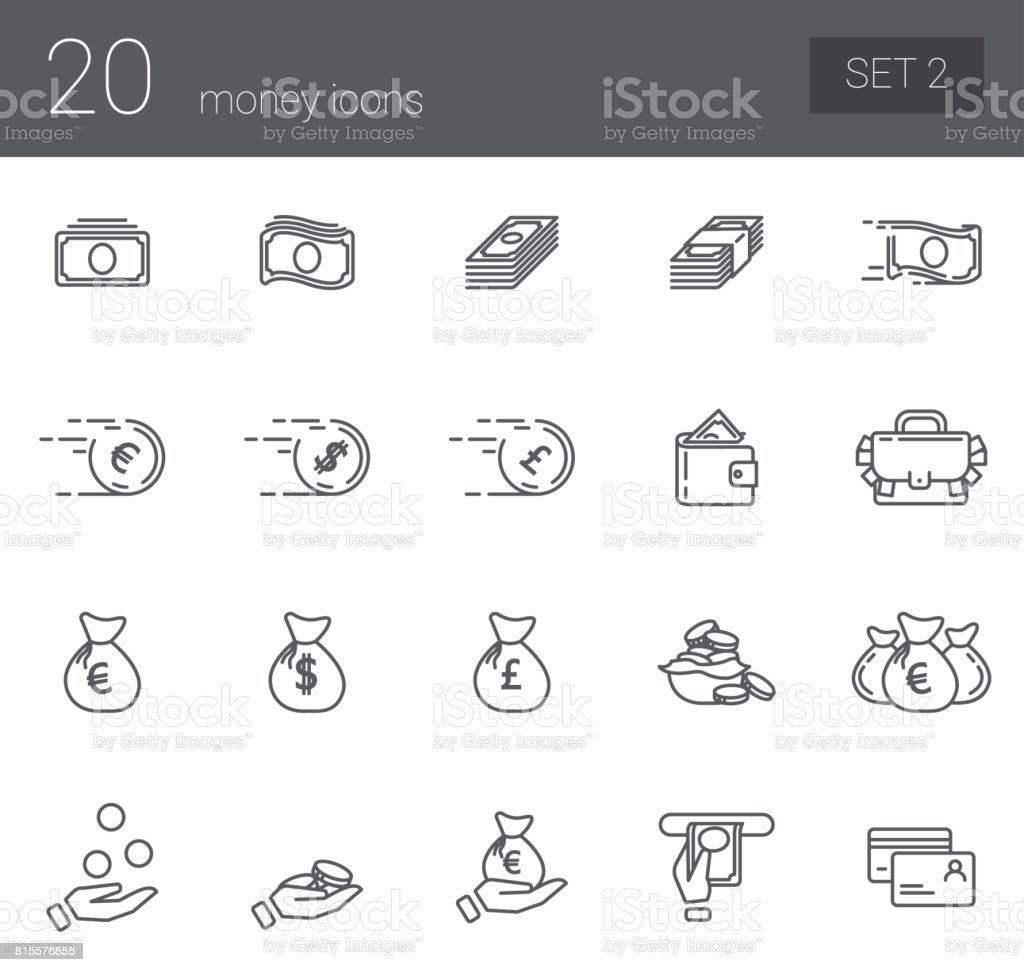 A simple set of icons symbolizing coin, finance, banking and business. Set 2 vector art illustration